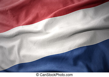 waving colorful flag of netherlands.