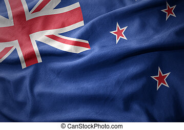 waving colorful flag of new zealand.