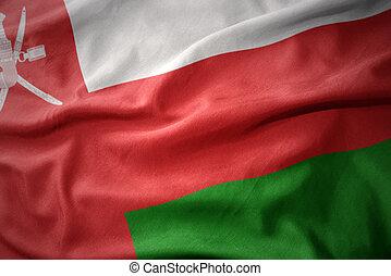waving colorful flag of oman.