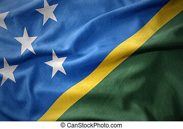 waving colorful flag of Solomon Islands.