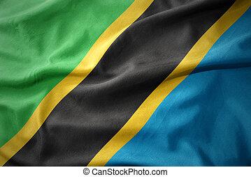 waving colorful flag of tanzania.