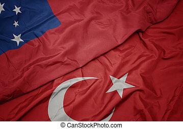 waving colorful flag of turkey and national flag of Samoa.