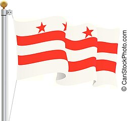 Waving Columbia Flag Isolated On A White Background. Vector Illustration. Official Colors And Proportion. Independence Day