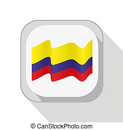 Waving Columbia flag on the button. Vector illustration.