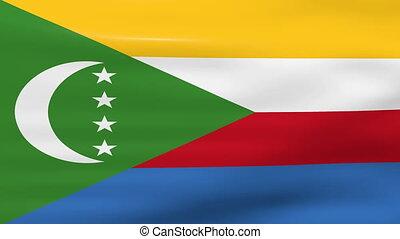 Waving Comoros Flag, ready for seamless loop.