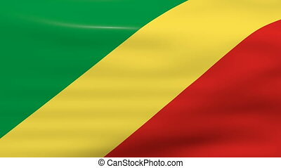 Waving Congo Republic Flag, ready for seamless loop.