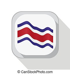 Waving Costa Rica flag on the button. Vector illustration.