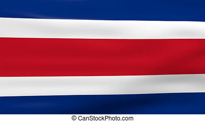 Waving Costa Rica Flag, ready for seamless loop.
