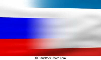 Waving Crimea and Russia Flag