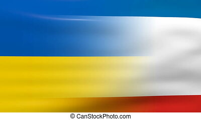 Waving Crimea and Ukraine Flag