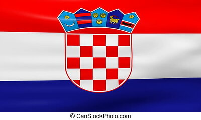 Waving Croatia Flag, loop ready.
