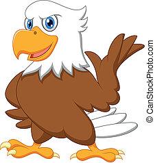 waving, cute, caricatura, águia