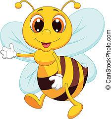 waving, cute, caricatura, abelha