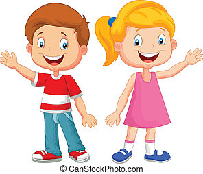waving, cute, crianças, mão