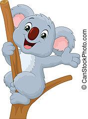 waving, cute, koala, caricatura, mão