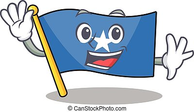 Waving cute smiley flag somalia cartoon character style