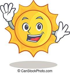 waving, cute, sol, personagem, caricatura