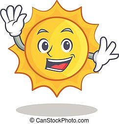 Waving cute sun character cartoon
