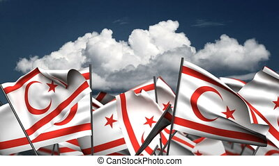 Waving Cyprus Northern Flags (seamless & alpha channel)