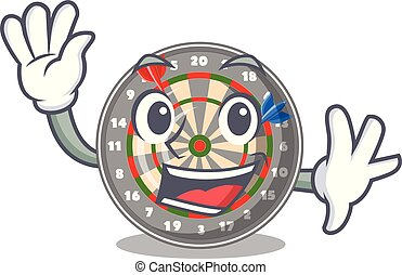 Waving dartboard in the shape of mascot