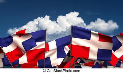 Waving Dominican Republic Flags