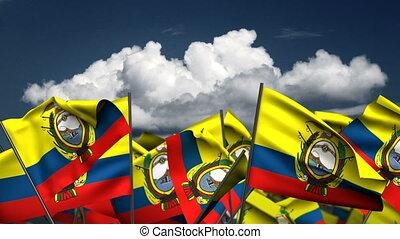 Waving Ecuadorian Flags (seamless & alpha channel)