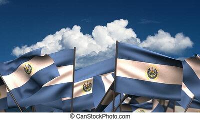 Waving El Salvadorian Flags (seamless & alpha channel)