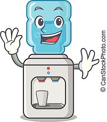 Waving electric water cooler against the cartoon vector ...