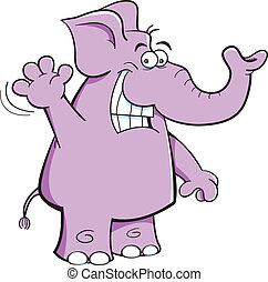 Waving Elephant - Cartoon illustration of a elephant waving