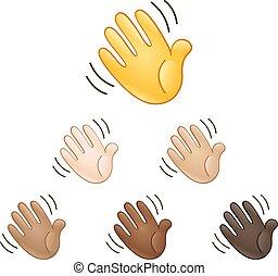 waving, emoji, sinal mão