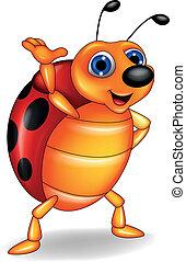waving, engraçado, caricatura, ladybug