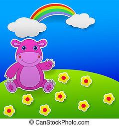 waving, engraçado, hipopótamo, mão