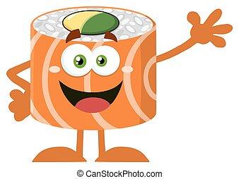waving, engraçado, sushi, personagem, rolo