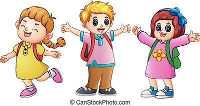 waving, escola brinca, três