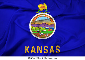 waving, estado, bandeira kansas
