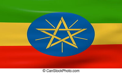Waving Ethiopia Flag, ready for seamless loop.