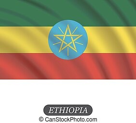 Waving Ethiopia flag on a white background. Vector illustration