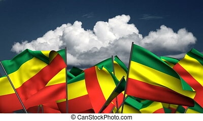 Waving Ethiopia Flags (seamless & alpha channel)