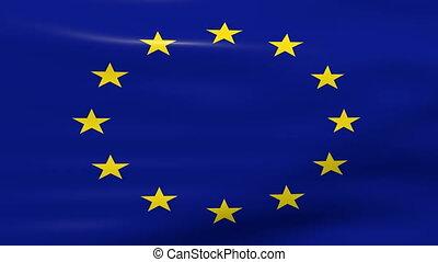 Waving European Union Flag, ready for seamless loop.
