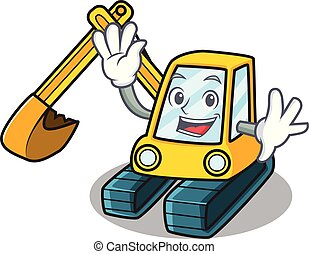 Waving excavator character cartoon style
