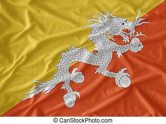 Waving Fabric Flag of Bhutan