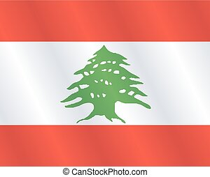 Waving Fabric Flag of Lebanon