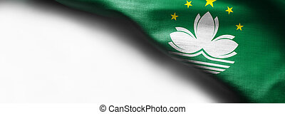 Waving Fabric Flag of Macau on white background