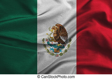 Waving Fabric Flag of Mexico