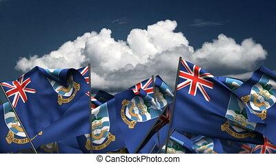 Waving Falkland Islands Flags (seamless & alpha channel)