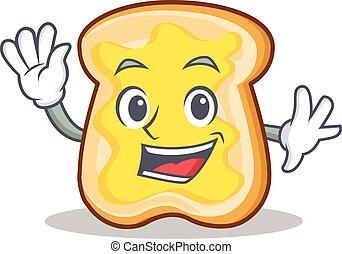 waving, fatia, personagem, caricatura, pão