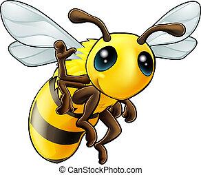 waving, feliz, caricatura, abelha