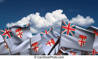Waving Fijian Flags