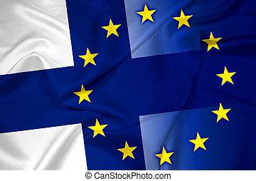 Waving Finland and European Union Flag