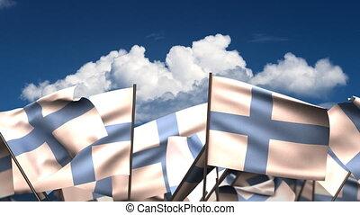 Waving Finnish Flags